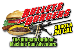 Shoot A Machine Gun! | Bullets and Burgers Logo
